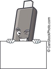 Flashdisk cartoon character with funny face hides behind a board