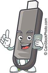 flashdisk, telefoon, vrolijke , afbeelding, het spreken