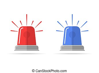 Flasher icons. Vector illustration - Red and blue flashers...