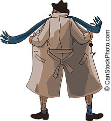 Flasher unbuttoned coat view from the back
