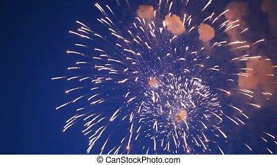 flashes, fogos artifício, noite, céu, metade