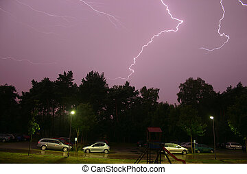 Flashes - Lightning  during a summer storm  at night
