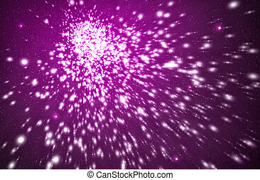 flashes of explosion in a purple background