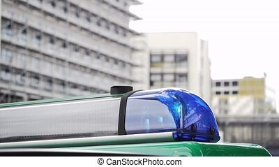 Flashing Beacon with roof of german police car - a flashing...