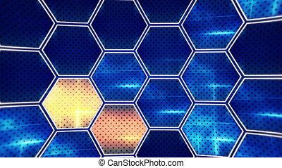 flashing blue orange hexagons loopable background