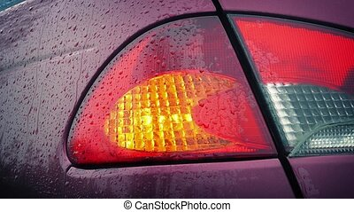 Flashing Car Back Light In The Rain