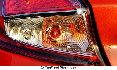 Flashing car turn signal indicating the left direction. 4K...