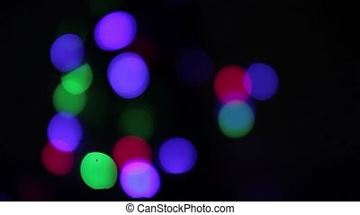 Flashing colored lights. Holiday and Party, Abstract Design Elements, Night City is Defocused With Nice Bokeh