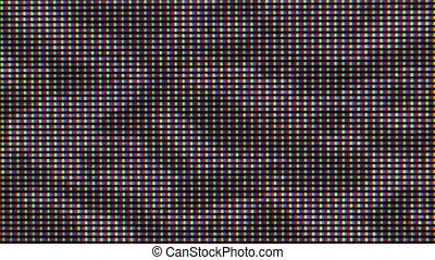 Flashing digital TV Screen Pixels Macro