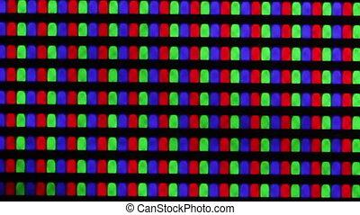 Flashing digital TV Screen Pixels Macro