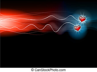flashing hearts - two hearts on the dark background
