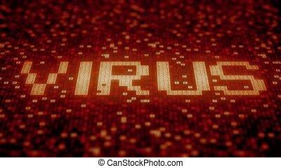 Flashing hexadecimal symbols on a red computer screen...