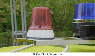 Flashing indicators on a roof of the police car costs. UltraHD stock footage.