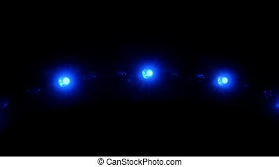 Flashing LED Lights On Black - Closeup of blue LED lights...