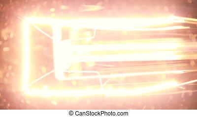 Flashing light bulb filament - Close up of light bulb...