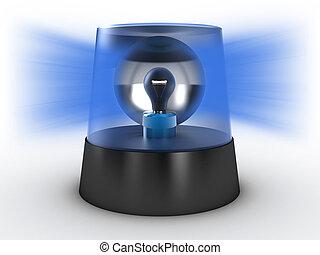 Flashing light - Blue flashing light on a white background