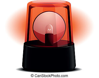 detailed illustration of a red flashing light, symbol for alert and emergency