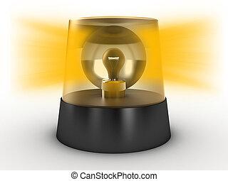 Flashing light - Yellow flashing light on a white background