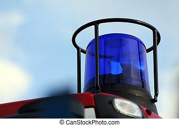 flashing light - blue flashing light on the fire vehicle