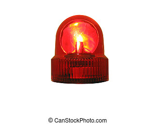 This is a flashing red emergency light that is isolated on white.