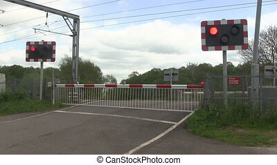 Flashing lights at a level crossing