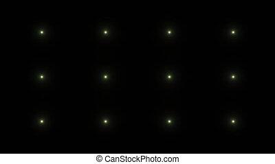Flashing lights on a black background. Seamless loop