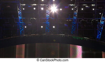 Flashing lights on the stage during music concert