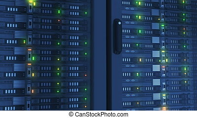 Flashing Lights on Working Servers Close-up in Modern Data Center. Cloud Computing Data Storage. Heavy 3d Rendering. Looped 3d animation. 4k UHD 3840x2160.