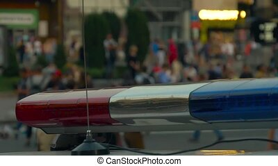 Flashing lights police car. Accident on the road. - Flashing...