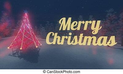 Flashing Merry Christmas text Loop - Flashing yellow Merry...