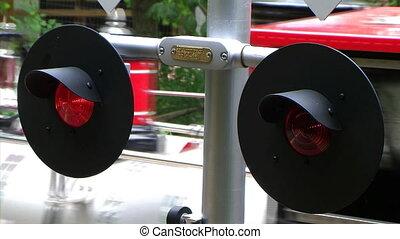 Flashing Railroad Crossing Signal - Flashing railroad...