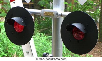 Flashing Railroad Signal with Train Passing - Flashing...