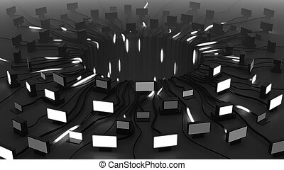 Flashing screens and moving signals, 3D rendering. Black background