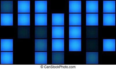 Flashing squares in blue