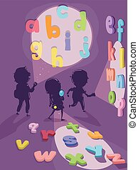 flashlight, alfabet, geitjes, stickman, illustratie