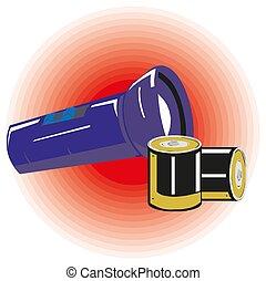 flashlight, batterijen, eps10., vector, illustratie