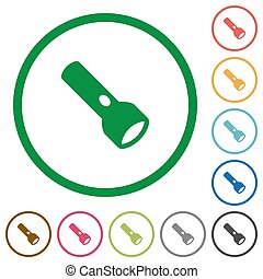 Flashlight flat color icons in round outlines on white background