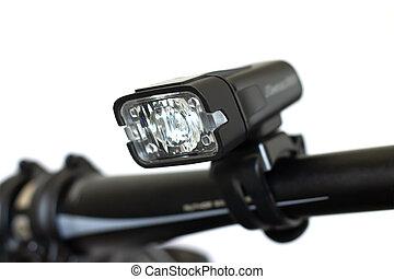 Flashlight for bicycle handlebar isolated on white background