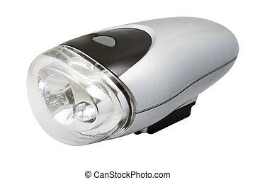 Flashlight for bicycle isolated on white background