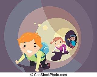 flashlight, geitjes, stickman, tunnel, illustratie, kruipen