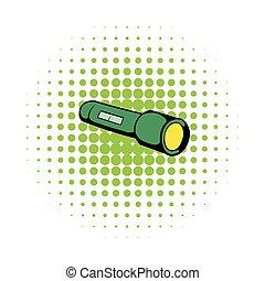 Flashlight icon, comics style