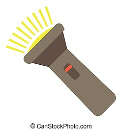 Flashlight icon, flat style - Flashlight icon. Flat...