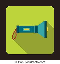 Flashlight icon, flat style