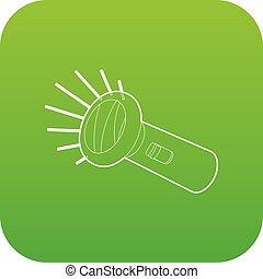 Flashlight icon green vector