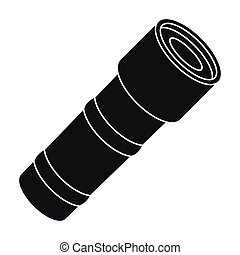 Flashlight icon in black style isolated on white background. Police symbol stock vector illustration.