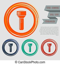 flashlight icon on the red, blue, green, orange buttons for your website and design with space text. Vector