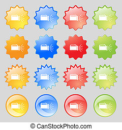 flashlight icon sign. Big set of 16 colorful modern buttons for your design.