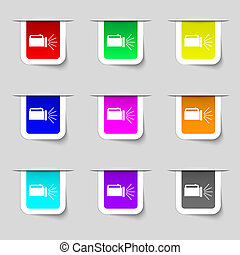 flashlight icon sign. Set of multicolored modern labels for your design.