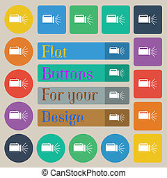 flashlight icon sign. Set of twenty colored flat, round, square and rectangular buttons.