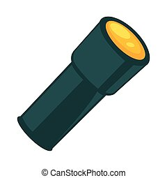 Flashlight in dark color isolated on white vector poster